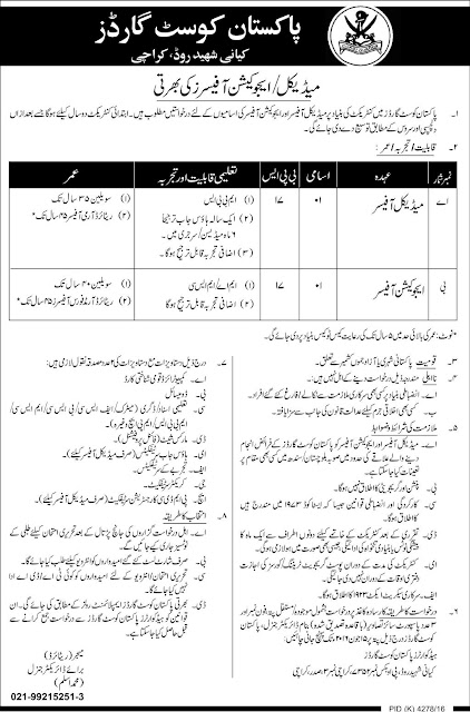 MBBS Doctors & Education Officer Jobs in Pakistan Coast Guard Jobs