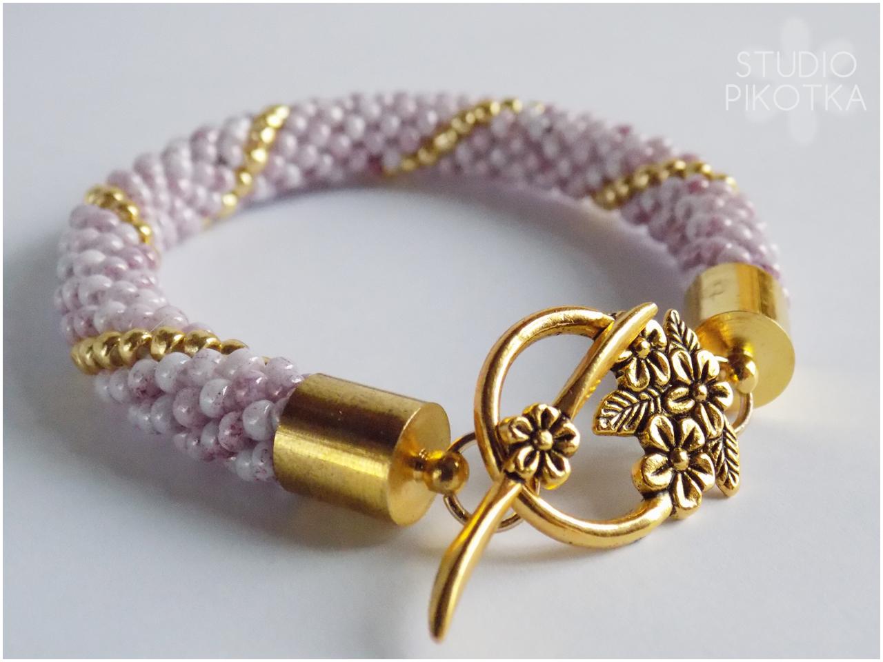 handmade, rękodzieło, biżuteria, jewellery, crochet rope, sznur szydełkowo-koralikowy, bransol
