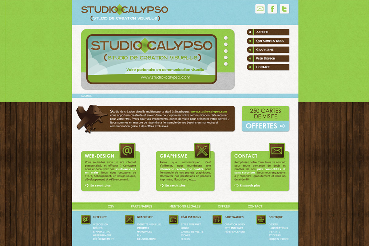 Création site internet, studio calypso