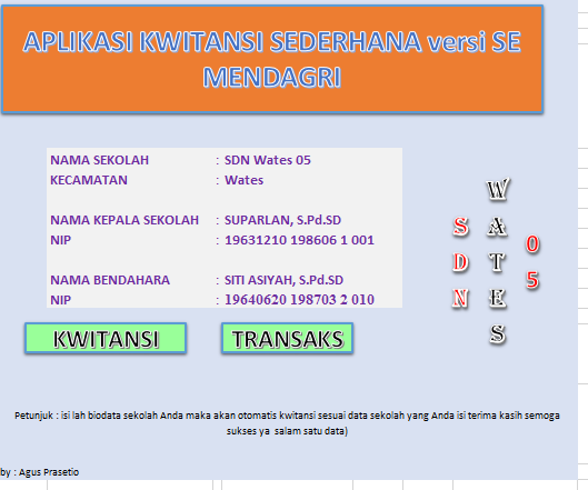 Aplikasi Cetak Kwitansi BOS SD/SMP/SMA OTOMATIS Versi SE Mendagri 2018