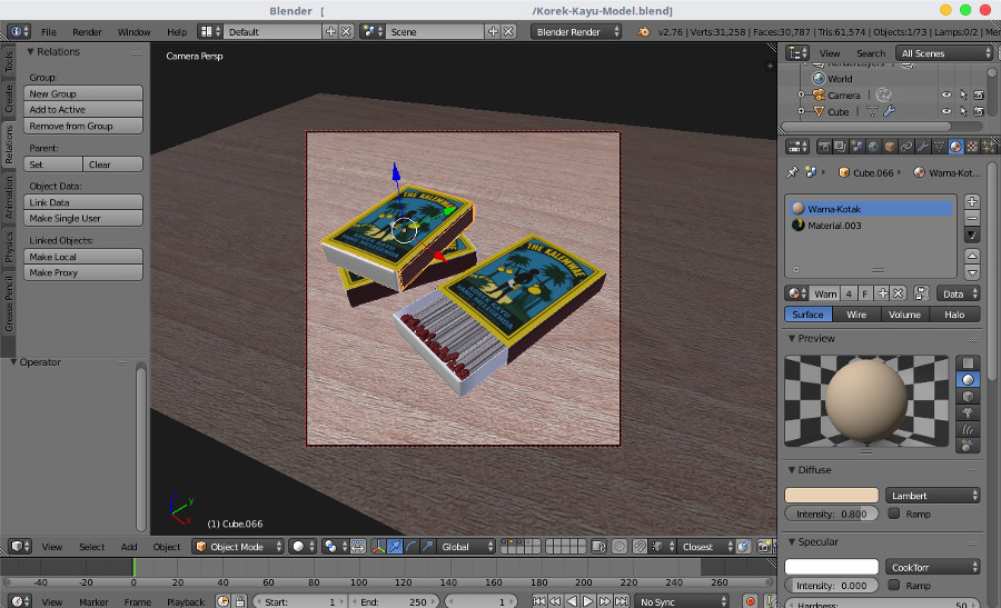 Matches 3D Modeling with Blender