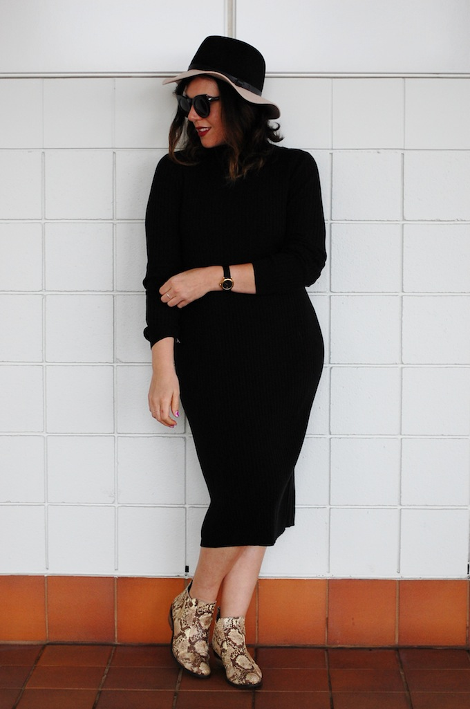 Turtleneck midi dress wool hat cool outfit Vancouver blogger