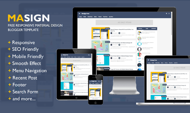 Masign Free Material Design Blogger Template