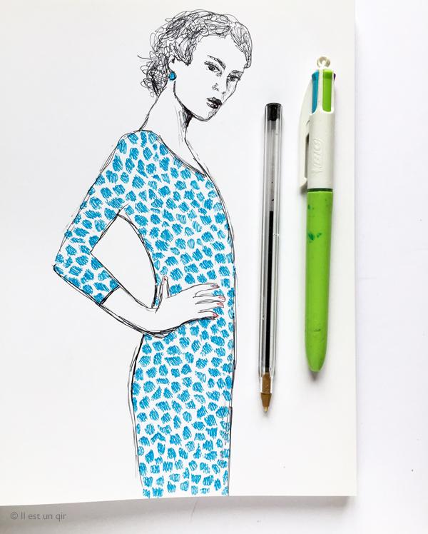 Dessin femme au stylo a bille