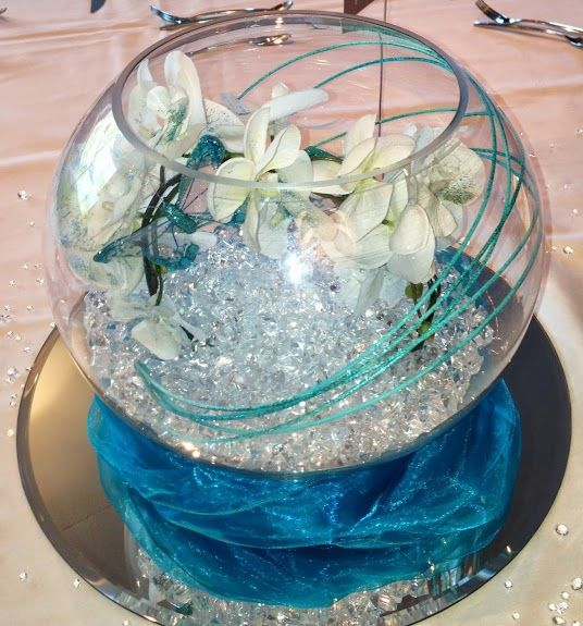 wedding table decoration with fish bowl containing aqua crystals, ribbons, beads