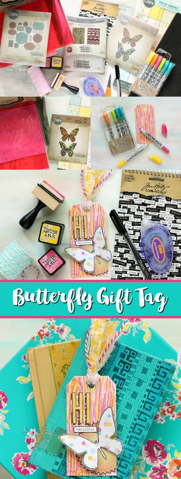 Make a Colorful Butterfly Gift Tag using the Sizzix BIGkick, various dies, paper leather, distress crayons & ink, and a little imagination! | pitterandglink.com