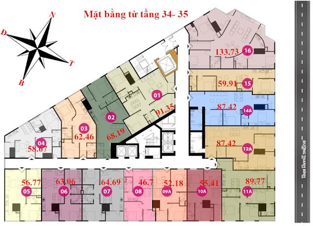 Mặt bằng tầng 34 - 35 - Chung cư Tháp doanh nhân
