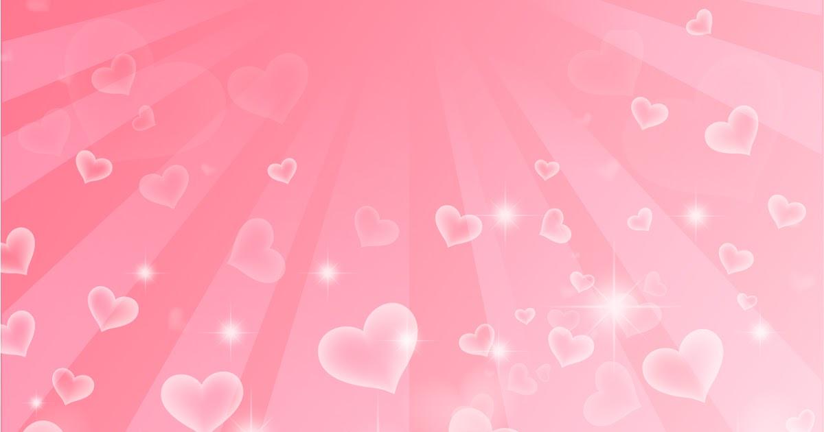 Free Vector がらくた素材庫: 輝くピンクのハートが降り注ぐ背景 Hearts background イラスト素材