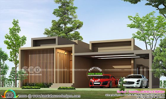 Box model single floor ultra modern Kerala home plan