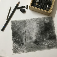 Charcoal drawing - initial stages