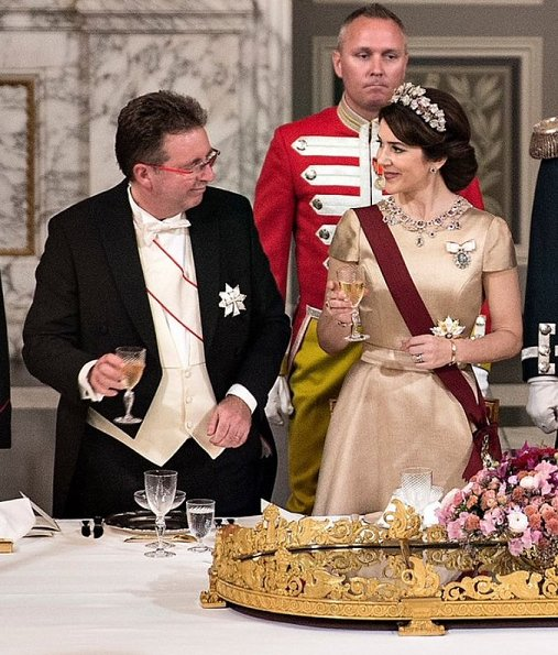 Queen Mathilde wore Armani Prive Gown, Princess Mary wore gown and Princess Marie diamond tiara at State Banquet at Christiansborg Palace