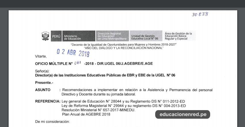 OFICIO MÚLTIPLE N° 081-2018-DIR.UGEL06/J.AGEBRE/E.AGE - Recomendaciones a implementar en relación a la Asistencia y Permanencia del personal Directivo y Docente durante su jornada laboral - www.ugel06.gob.pe