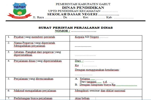 sppd surat perintah perjalanan dinas kepala sekolah dasar guru loyal