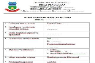 Format Surat Perintah Perjalanan Dinas SPPD Sekolah Dasar