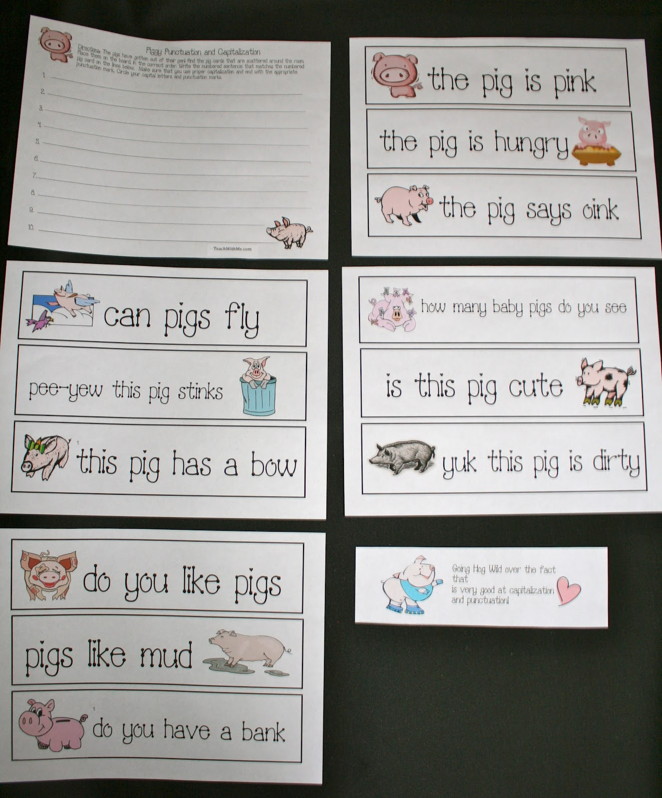 Piggy Punctuation And Capitalization Activities