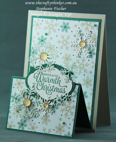 #thecraftythinker #stampinup #cardmaking #christmascard #funfold #doubleeaselcard #crazycraftersbloghop , Double Easel Card, Fun Fold, Christmas Card, Blizzard Thinlit, Foliage Frame , Stampin' Up Australia Demonstrator, Stephanie Fischer, Sydney NSW