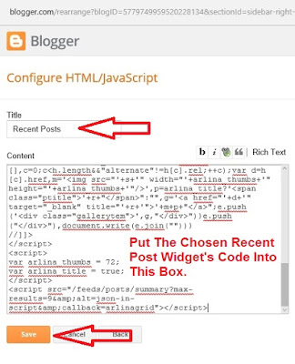 How to add recent posts widget in blogger-2