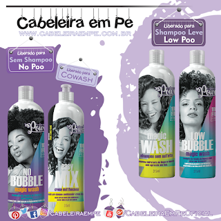 Higienizadores - Soul Power (Low Bubble e Shampoo Magic Wash - Low Poo) (No Bubble Magic Wash e Easy Mix No Poo)