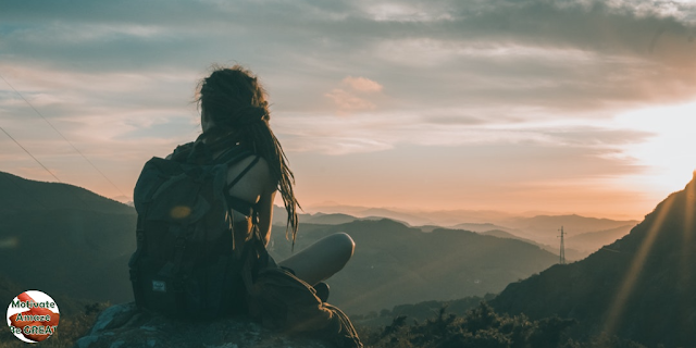 "Featured in the article: ""6 Benefits Of Travelling For Personal Development"". Traveling is Great for Reflection. Girl traveller, reflecting on life, landscape."