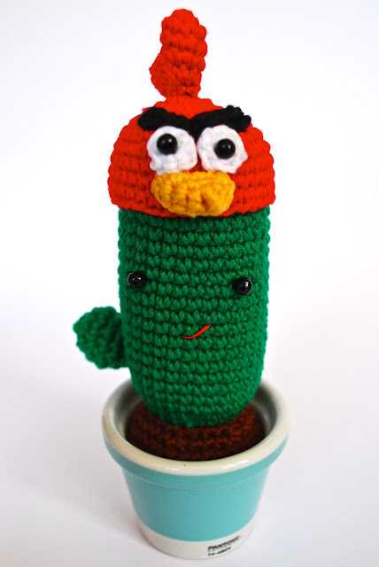 Amigurumi Cactus with Angry birds hat