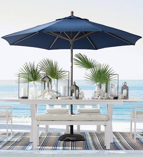 Palm Leaf Fronds Outdoor Tabletop Decor Idea