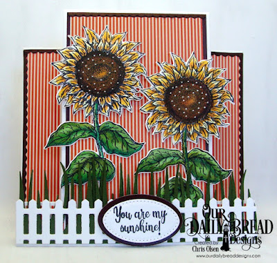 Our Daily Bread Designs Stamp Set: Be a Sunflower, Paper Collection: Fall Favorites Collection, Our Daily Bread Designs Fun and Fancy Folds Card Kit: Center Step, Custom Dies: Fence, Ovals, Pierced Ovals