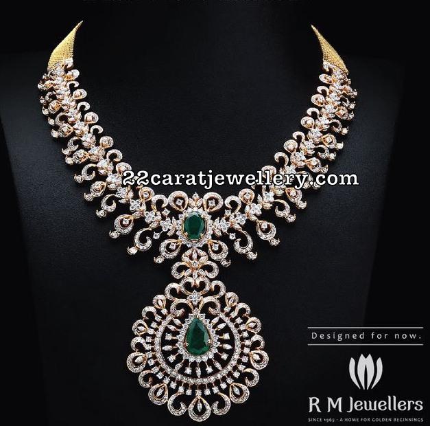 Diamond Necklace Peacock Jhumkas by RM Jewels