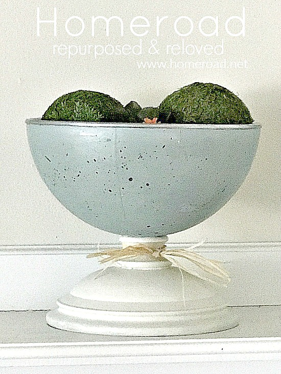 DIY Repurposed globe Robin's Egg Blue Pedestal Dish. Homeroad.net