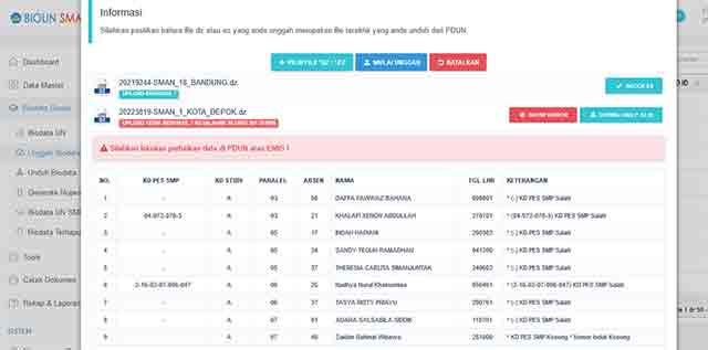 Sekarang sudah dapat login ke BIOUN dengan username dan password yang diberikan dari cabang User Name dan Password BIOUN, Berikut Cara Upload Biodata Siswa