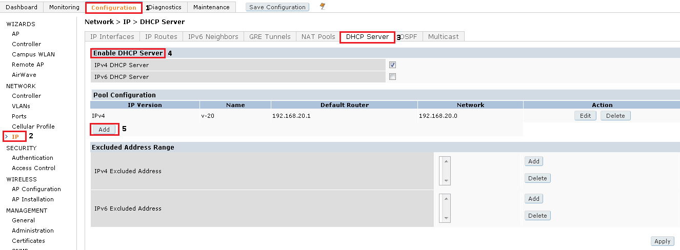 Network Engineer Blog: How to Configure DHCP Server on Aruba Controller