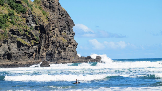 Surfers at Piha Beach near Auckland New Zealand