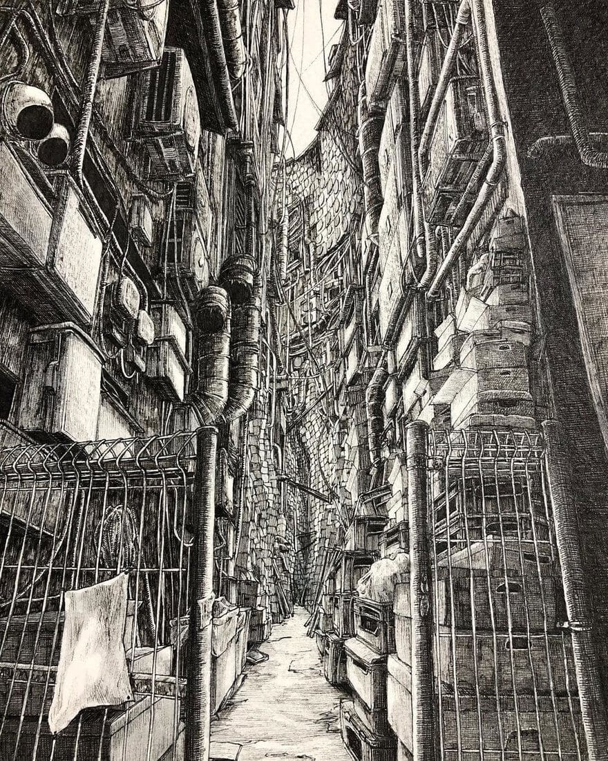 09-Tight-Squeeze-ibsuki-Urban-Architectural-Pen-Drawings-www-designstack-co
