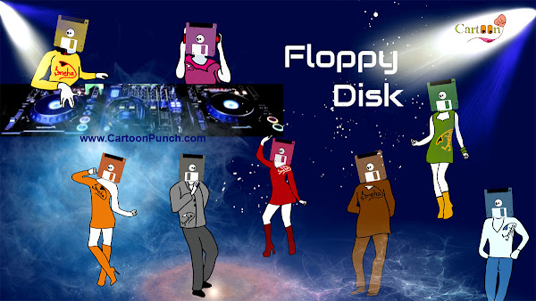 Floppy disk cartoon illustration by Sneha