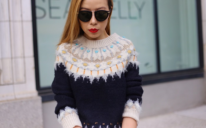 Anthtopologie beaded fairisle pullover, blank denim ripped skinny jeans, karen walker harvest sunglasses, celine edge bag, schutz heels, hermes bracelet, nyc blogger, fashion blog, holiday sweater, holiday outfit