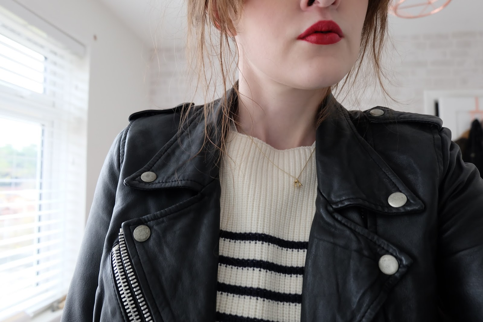 chanel la fascinante lipstick, leather jacket, stripes