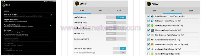 Dikembangkan oleh Swiss privacy activist Cedric Jeanneret, OrWall pada dasarnya adalah sebuah firewall untuk Android Anda yang akan memaksa semua aplikasi (atau hanya yang Anda pilih) untuk menggunakan jaringan TOR untuk mengirimkan semua data-data nya. Dan jika salah satu dari aplikasi tersebut tidak dapat menggunakan jaringan TOR untuk mengakses internet, maka koneksi data akan diblokir. Setelah menginstal APK tersebut, selesaikan program pemandu setup dan reboot Android Anda untuk mengaktifkan proses pada latar belakang. Setelah Anda selesai reboot Android Anda, Anda kemudian dapat membuka Aplikasi OrWall untuk mulai memilih aplikasi mana yang Anda inginkan untuk dapat menggunakan jaringan TOR.