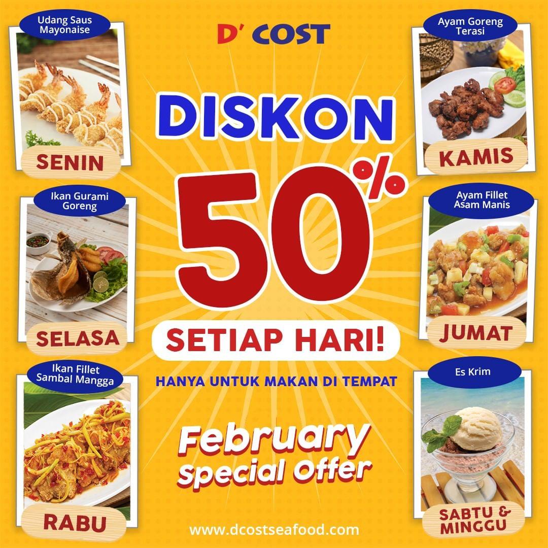 #D'Cost - #Promo Diskon 50% Setiap Hari di Bulan Februari 2019