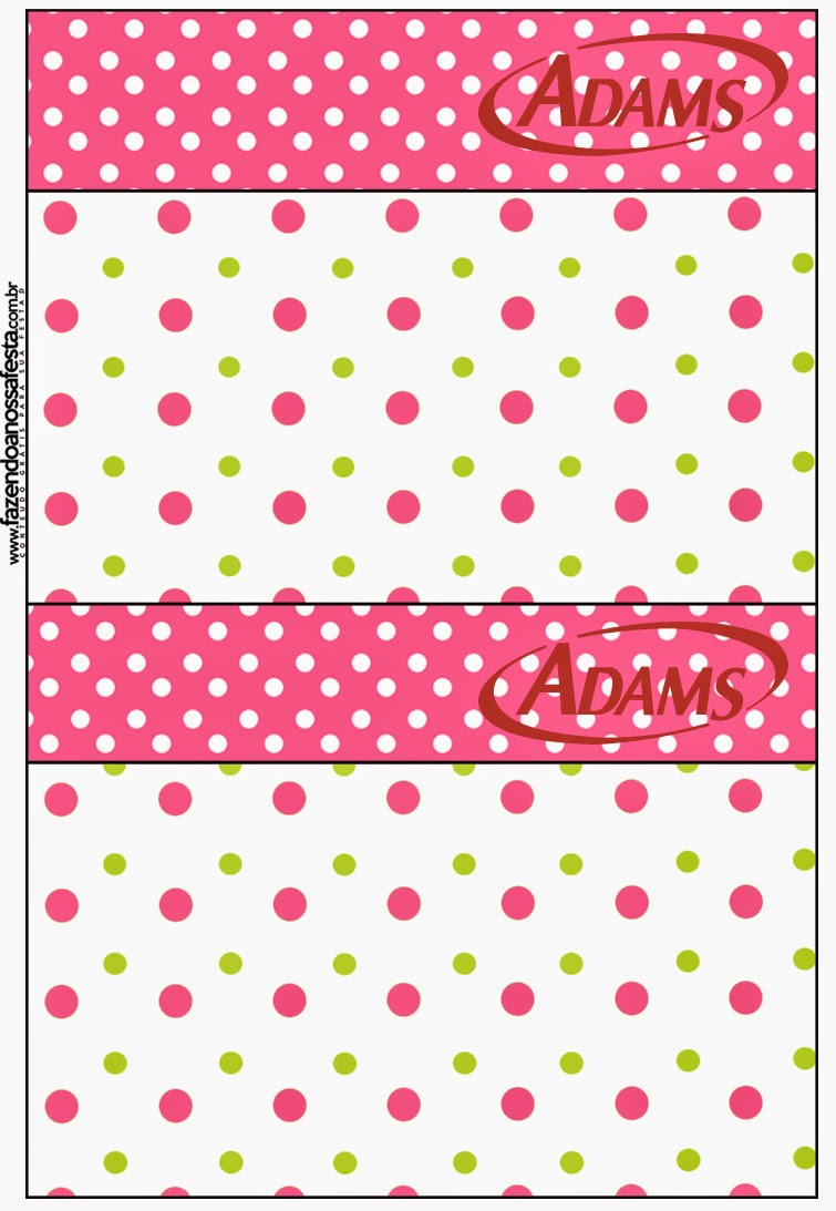 Pink, Green and White Polka Dots Free Printable Gum Adams Labels.