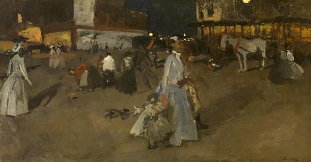 Obra de arte siglo XIX, pintor Hendrik Breitner. Gente paseando por el centro de la ciudad.