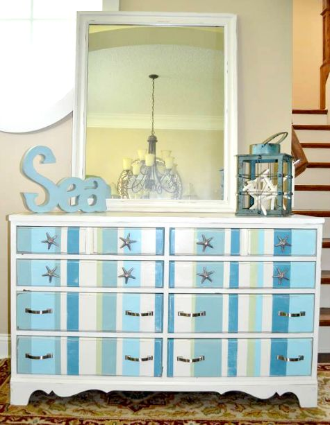 Blue and White Stripe Dresser