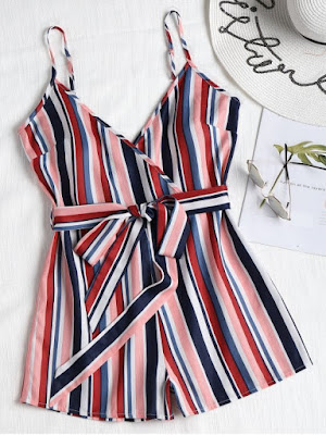 Belted Striped Cami Romper - Multi Color