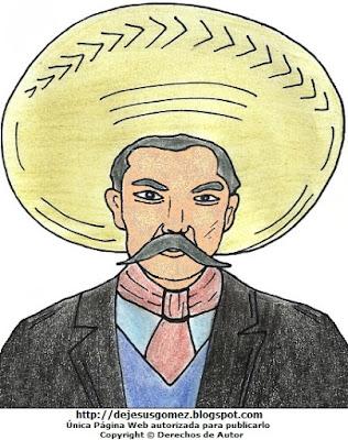 Ilustración de Emiliano Zapata pintado a colores. Dibujo de Emiliano Zapata hecho por Jesus Gómez