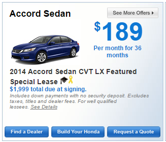Honda Offers Accord Sedan 2014 Accord Sedan CVT LX Featured Special Lease