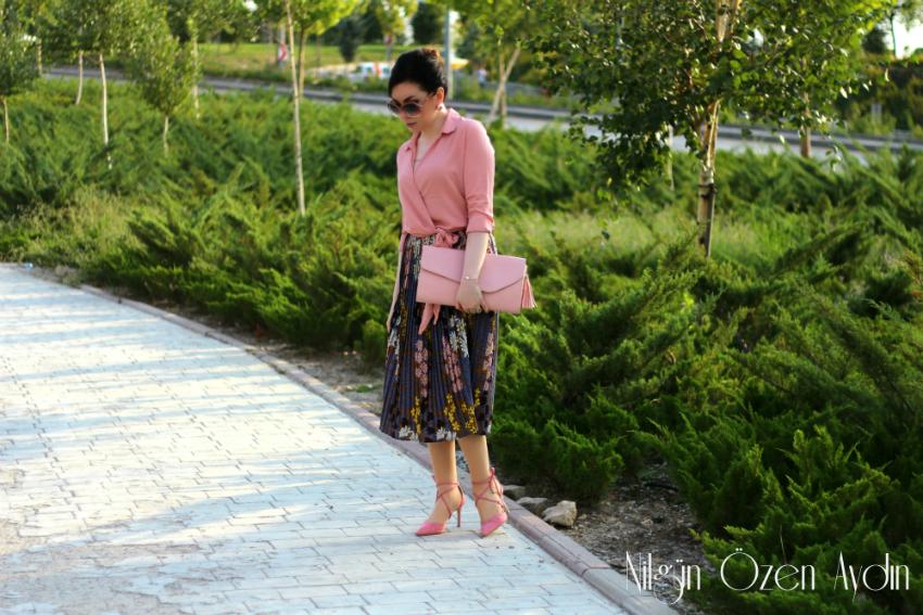 alışveriş-fashion blogger-fashion blog-moda blogu-çiçekli pileli etek-kruvaze gömlek