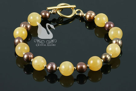 Bronze Pearl Honey Jade Gemstone Beaded Bracelet (B128)