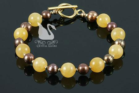 Bronze Pearl Honey Jade Gemstone Beaded Bracelet (B128)