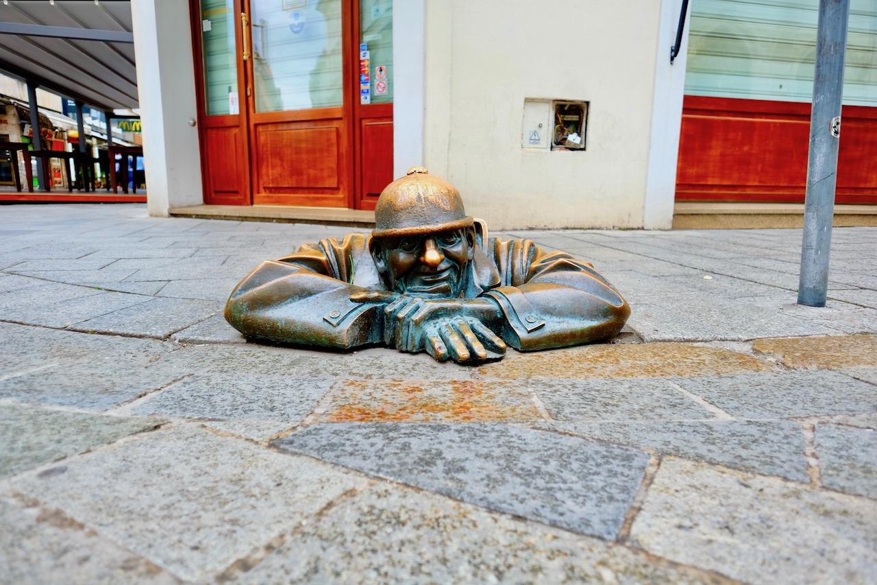Man at Work Statue at Bratislava Old Town