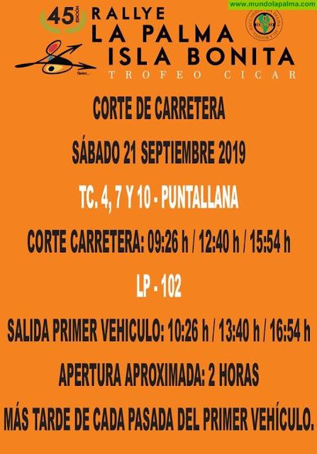 Cortes de carretera programados para el próximo sábado 21 de septiembre, con motivo de la 45º edición del Rallye La Palma