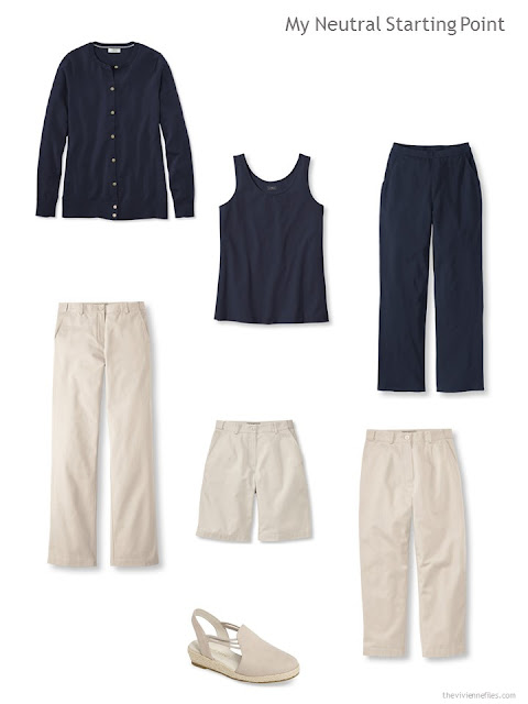 navy and beige neutral pieces around which to build a capsule wardrobe