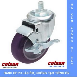 Bánh xe lắp trục ren bánh xe đẩy chịu tải trọng (82~122kg) | banh xe nhựa PU